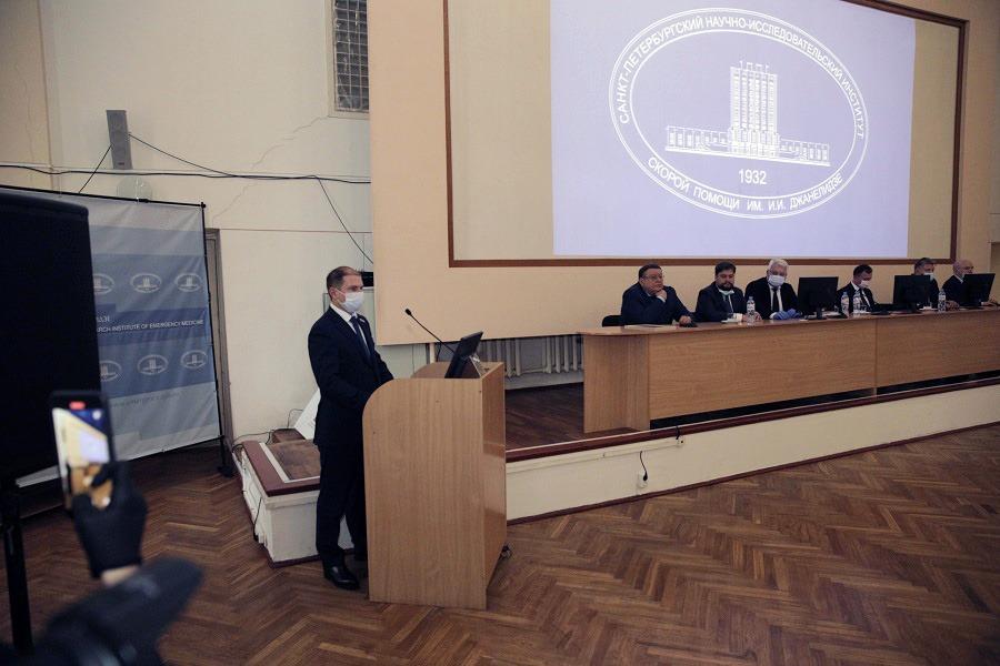 Михаил Романов принял участие в представлении коллективу нового директора НИИ скорой помощи имени Джанелидзе